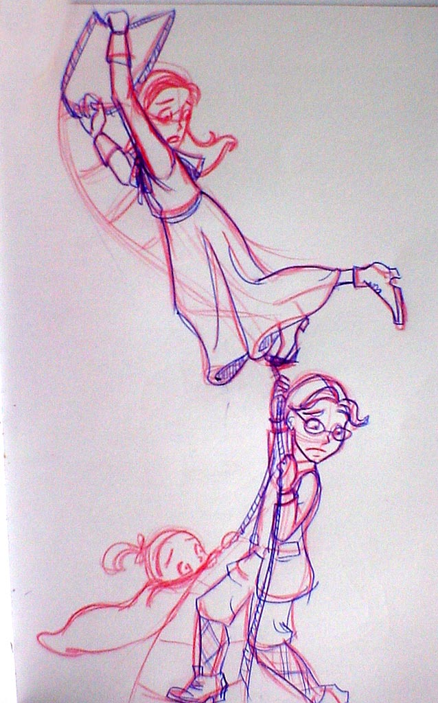 The Baudelaires cling desperately to Hector's rope ladder in The Vile Village