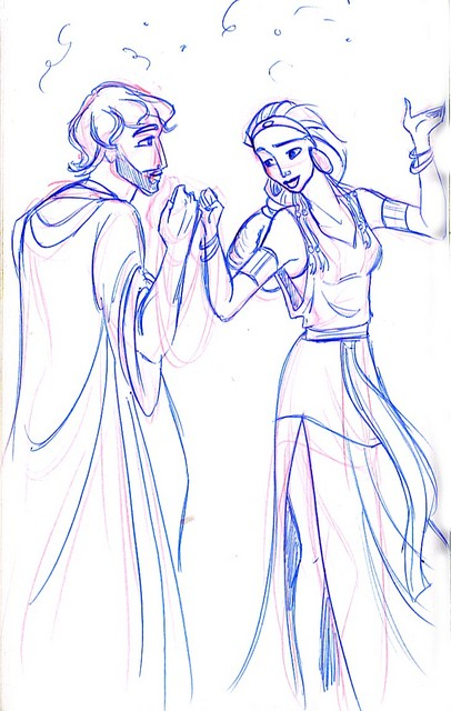 Moses and Tzipporah eventually fall in love (notice the unfinished scarf)
