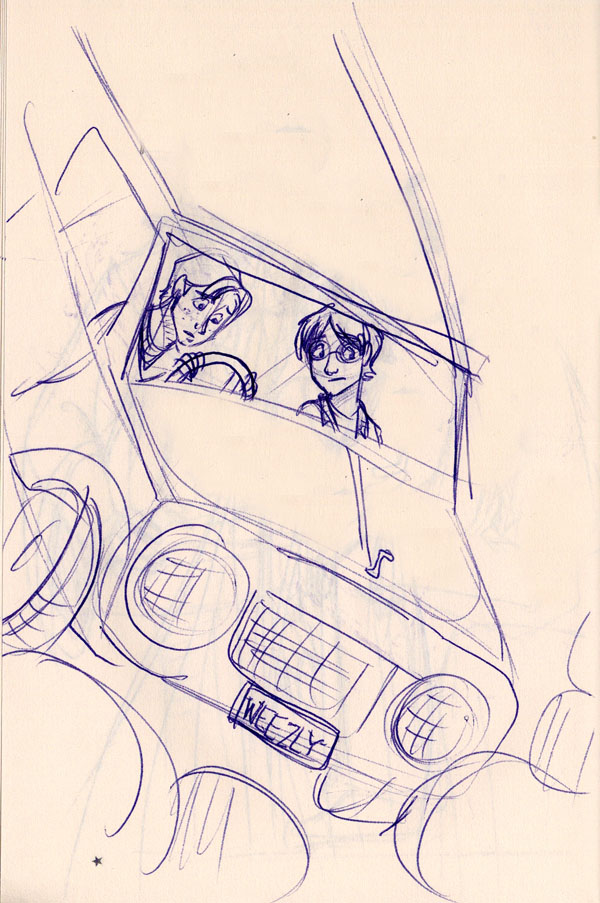 Harry and Ron fly to Hogwarts in the Weasleys' enchanted car