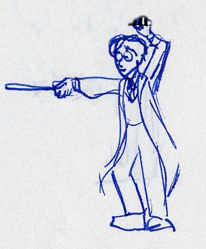 A quick sketch of Harry preparing to duel