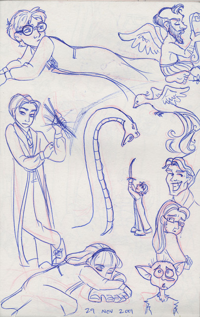 A montage of drawings from Harry Potter and the Chamber of Secrets