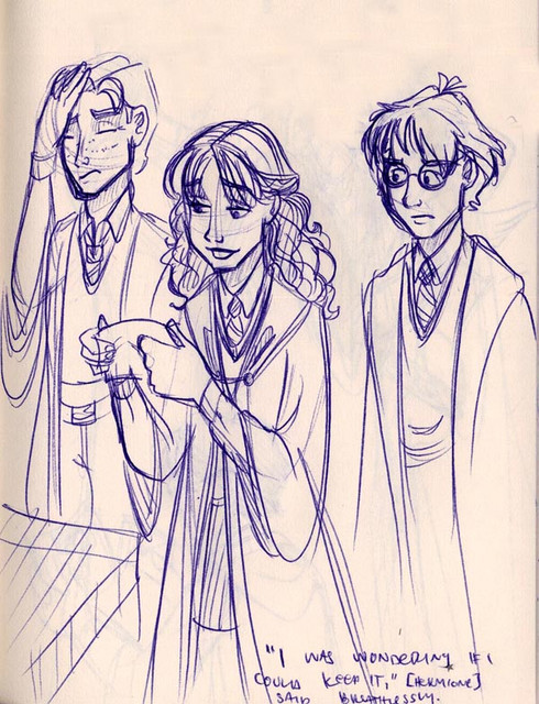 Hermione hesitates to turn over the autographed permission slip from Professor Lockhart