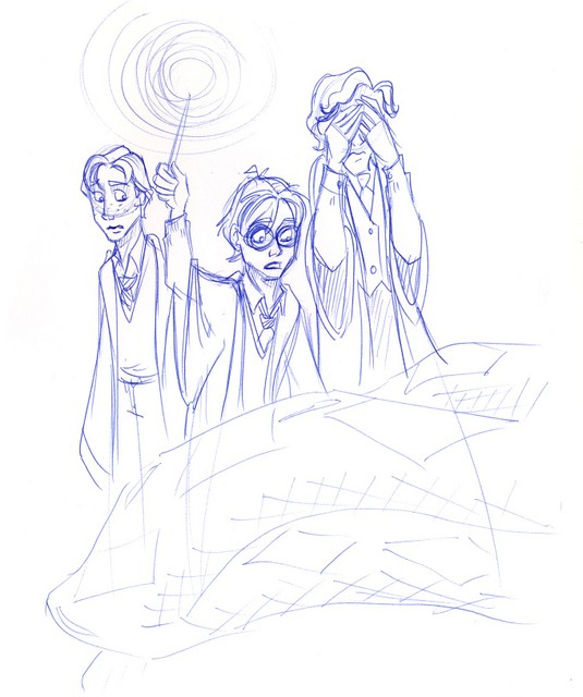 Harry, Ron and lion-hearted Lockhart ‡ˆœ/unter an abandoned snakeskin en route to the Chamber of Secrets