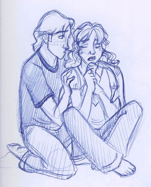 Ron steps up and comforts Hermione when she explains how she had to modify her parents' memories for their own safety.