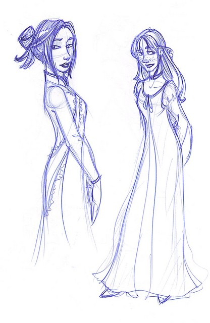 Sketches of Cho and Ginny's Yule Ball dress robes