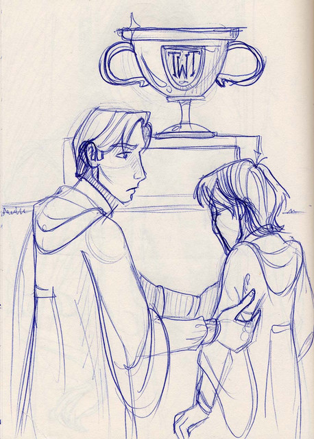 Harry and Cedric agree to take the Cup together, a Hogwarts victory