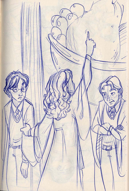 Hermione leads Harry and Ron into the kitchens