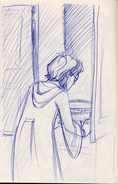 Harry opens the ajar cabinet door to find Dumledore's Pensieve