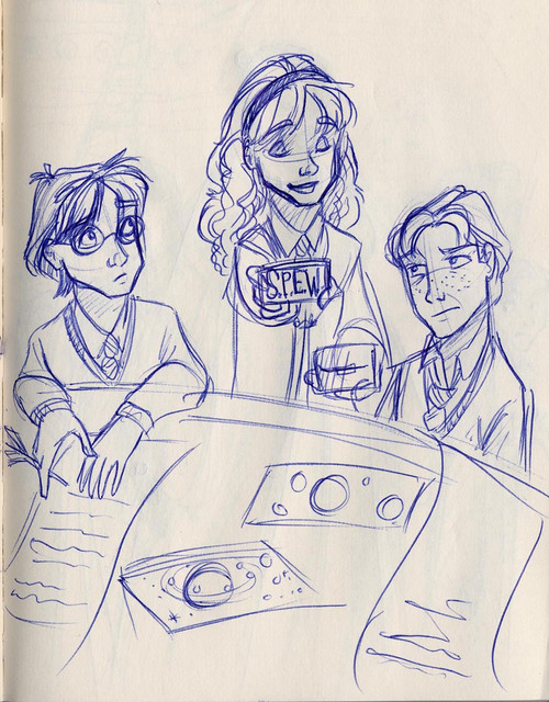 Hermione presents Harry and Ron with her S.P.E.W. agenda