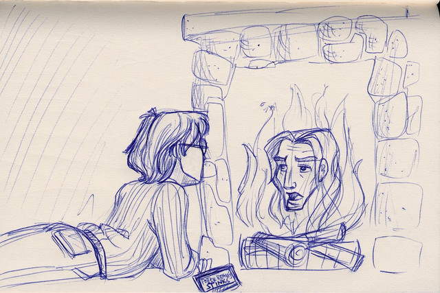 Harry has a late-night visit with Sirius in the Common Room fire via Floo Powder