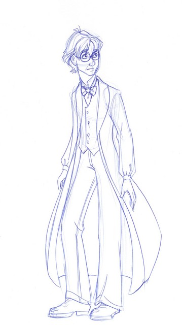 A sketch of Harry in his dress robes for the Yule Ball
