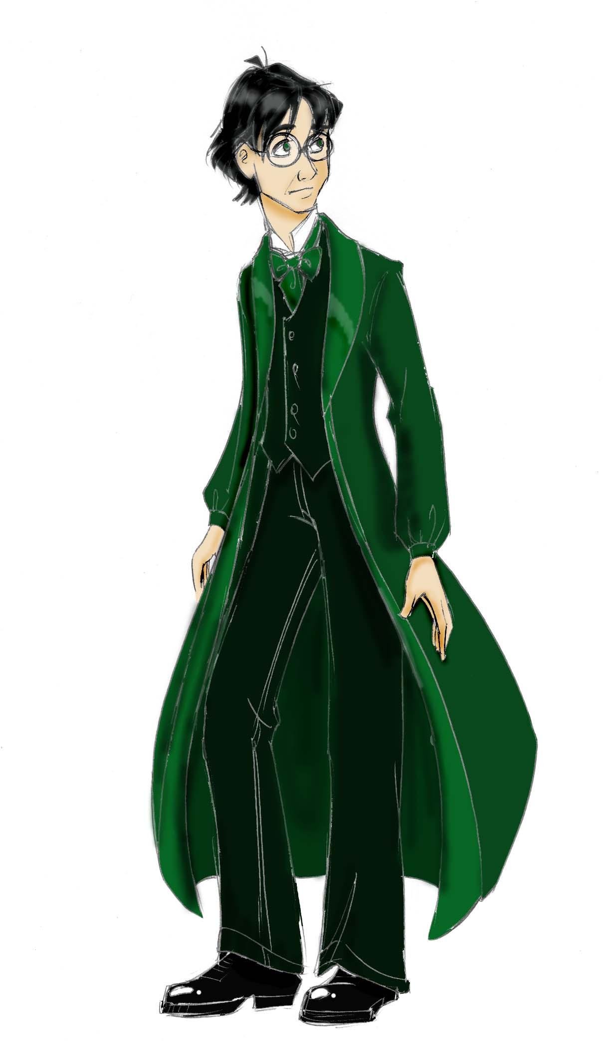 Mrs. Weasley picks emerald-green dress robes to enhance his eye color