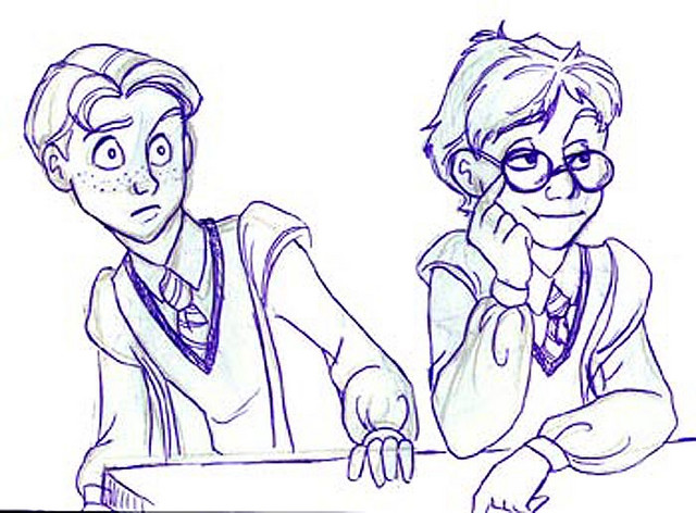 Ron and Harry look at Fleur and Cho in the Great Hall (version 2)