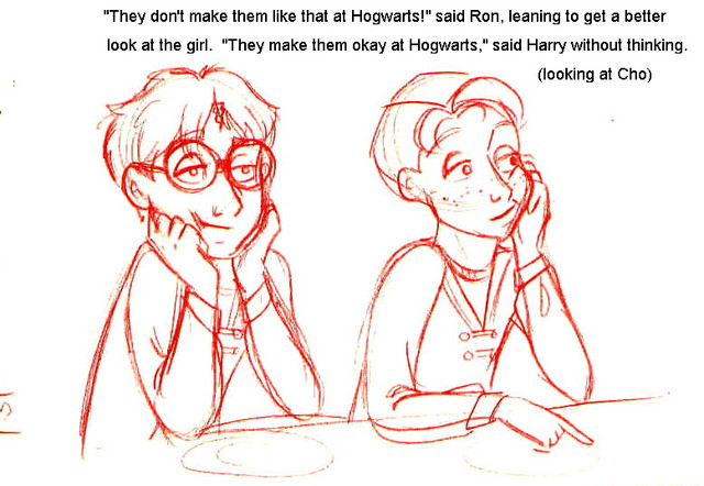 Ron and Harry look at Fleur and Cho in the Great Hall (version 1)