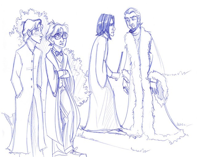 Harry and Ron overhear a revealing conversation while taking a break from the Yule Ball