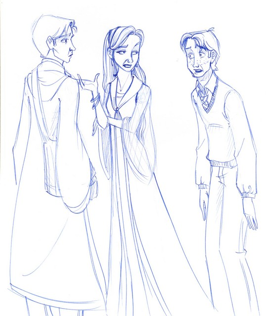 Without knowing why, Ron confronted Fleur to ask her to the Yule Ball while she flirted with Cedric (to no avail...)