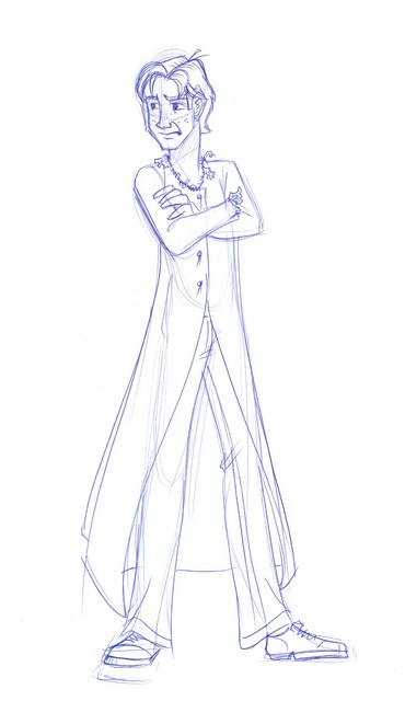 A sketch of Ron in his dress robes for the Yule Ball