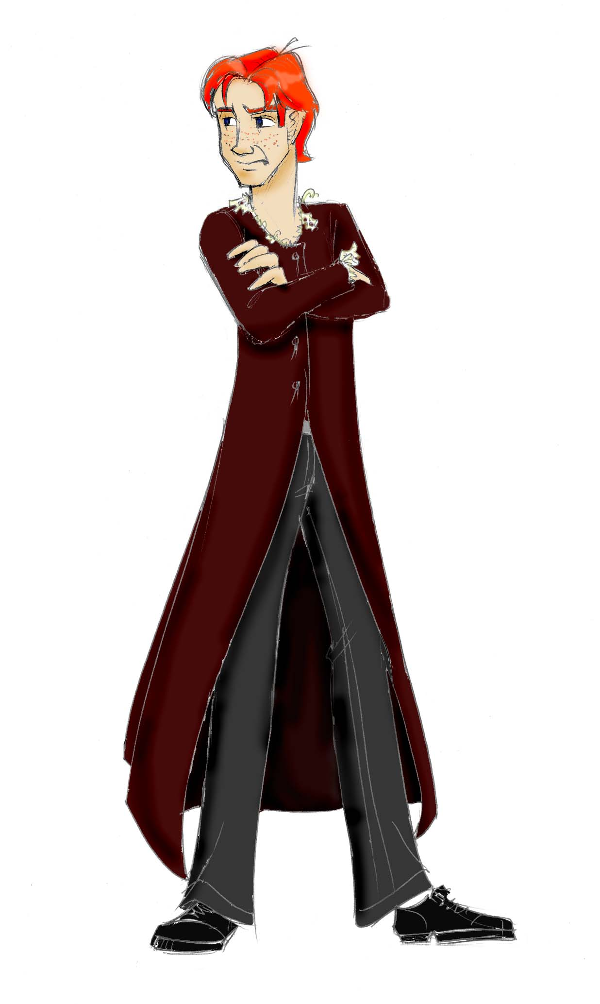 As much as Ron hates maroon, he tries to improve the situation by removing some of the lace on his dress robes...