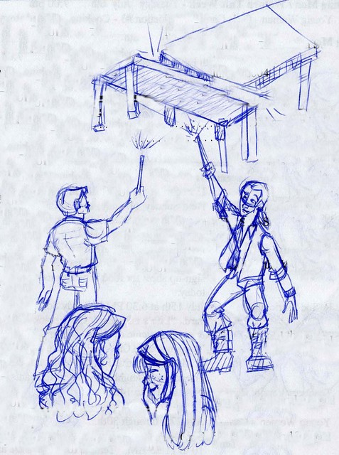 Bill and Charlie knock the tables in the air while Hermione and Ginny look on bemusedly