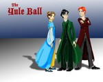 A wallpaper of the trio at the Yule Ball