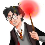 A semi-colored avatarish drawing of Harry