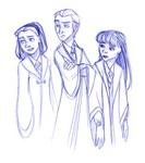 On the way to the Quidditch match, Harry sees Malfoy with two unknown girls...