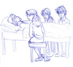 Hermione, Ginny and Harry sit vigil at Ron's bedside