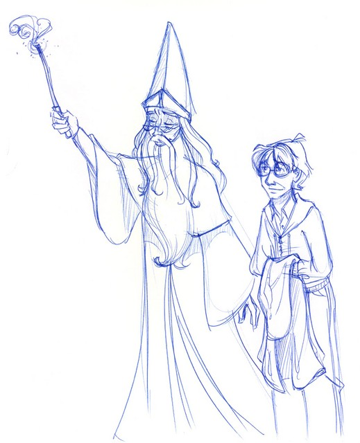 "Dumbledore and Harry set off into the night to find, once again, ""that flighty temptress, adventure."""