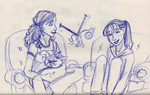 Hermione chats with Ginny while her knitting needles flash and click in front of her