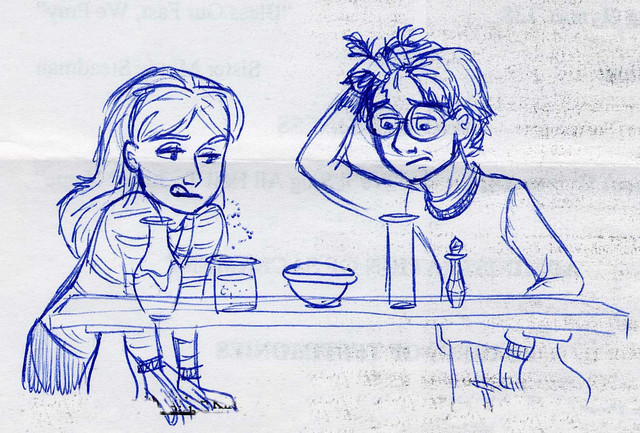 Harry and Hermione encounter Snapes Potion obstacle on the way to the Sorcerer's Stone