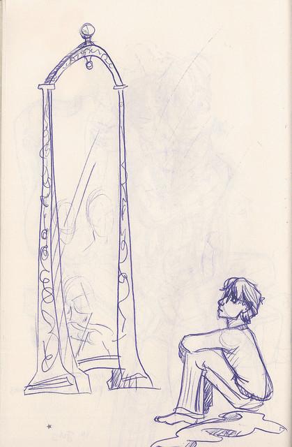 Harry gazes longingly into the Mirror of Erised