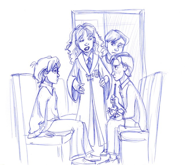 Harry and Ron meet a bossy, large-toothed, bushy-haired girl on the Hogwarts Express...