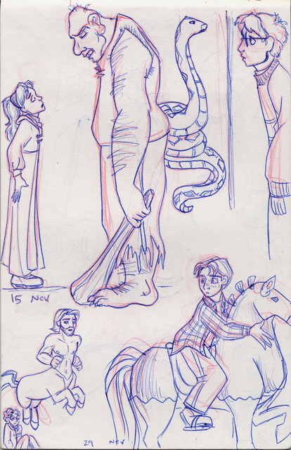 A montage of drawings from Harry Potter and the Sorcerer's Stone
