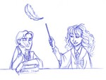 Hermione shows Ron how it's done, much to his displeasure