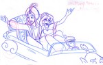 Aladdin and Jasmine wave to fans in the Disney Stars and Motor Cars Parade