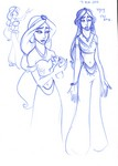 Some drawings inspired by the Aladdin show at Disney's California Adventure (don't mind the ugly one on the right)
