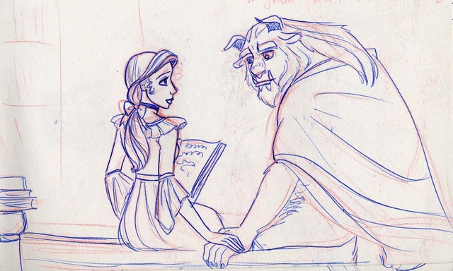 Belle and the Beast share a moment in the library