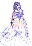 A drawing of Belle's costume from the stage show