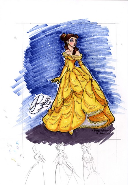 Belle (a commissioned drawing that was framed, done with PrismaColor markers)