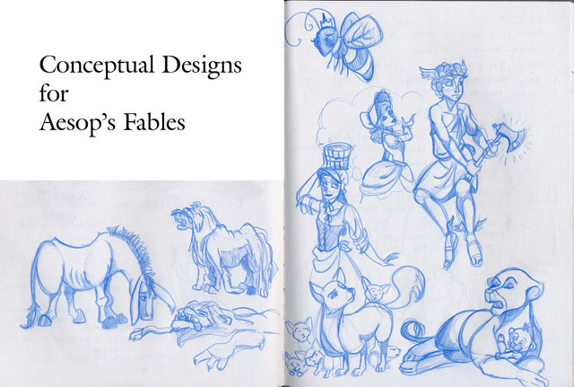 Concept designs for some Aesop's Fables