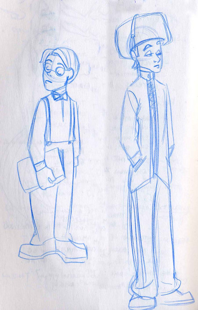 A snooty character and a boy with an overlarge hat for a storyboarding project