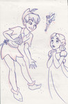 Peter Pan awes Wendy (which annoys Tinker Bell)