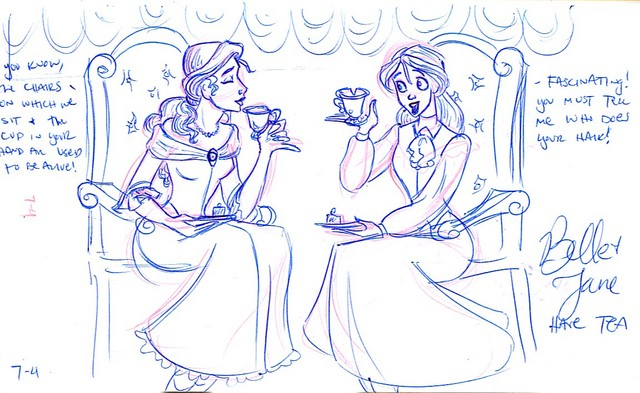 Belle and Jane share a spot of tea