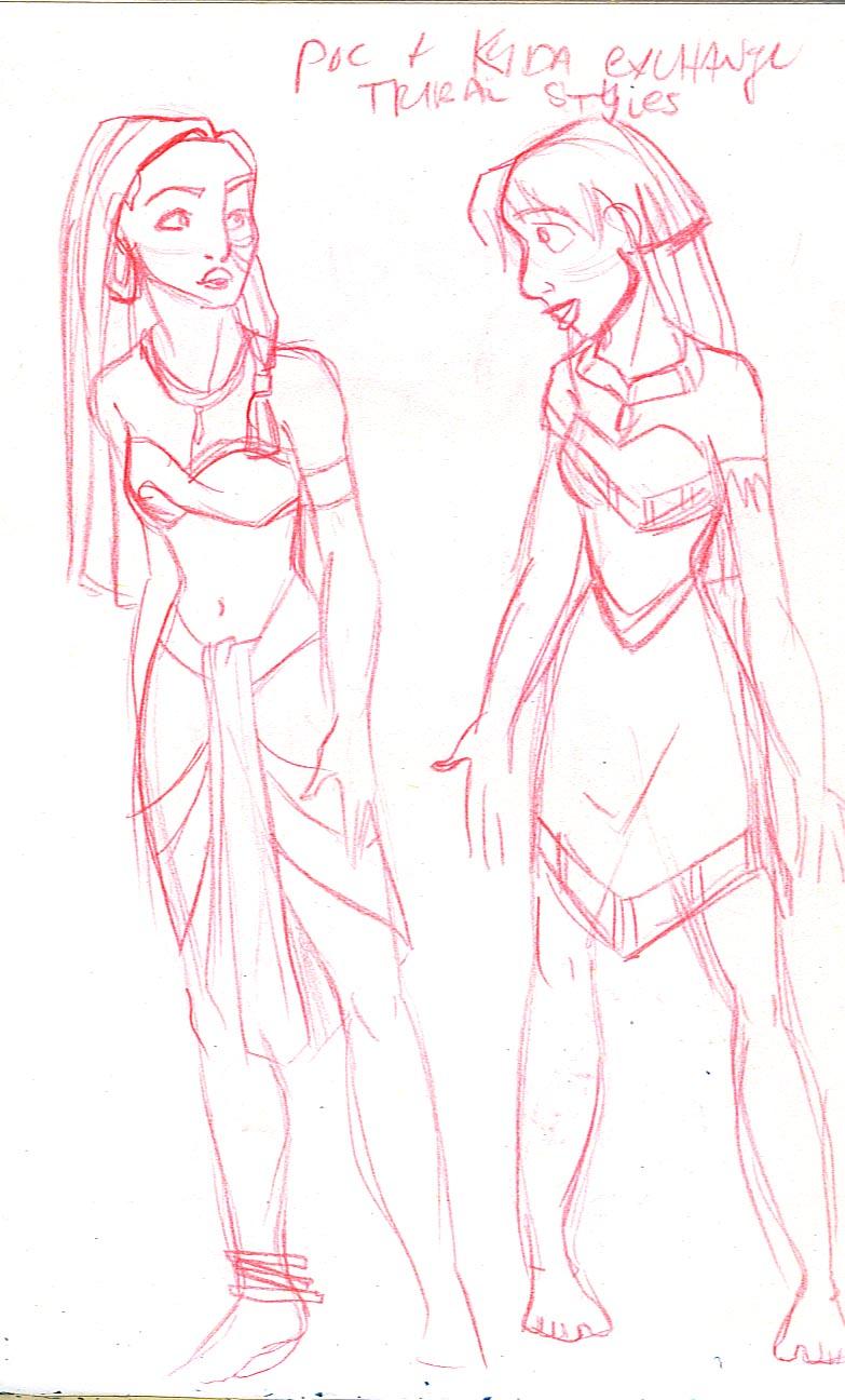 Pocahontas and Kida exchange tribal wear