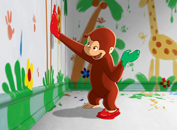Animated heroes george for Curious george mural