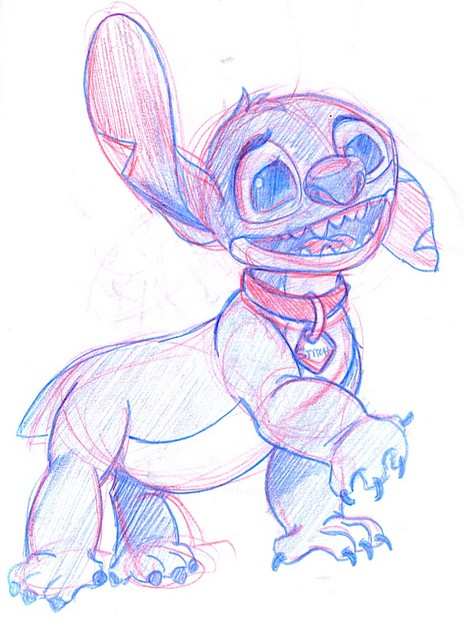 Stitch posing as a harmless (and blue) puppy