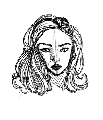 An attempted sketch of Catherine Zeta-Jones from the cover of Entrapment.