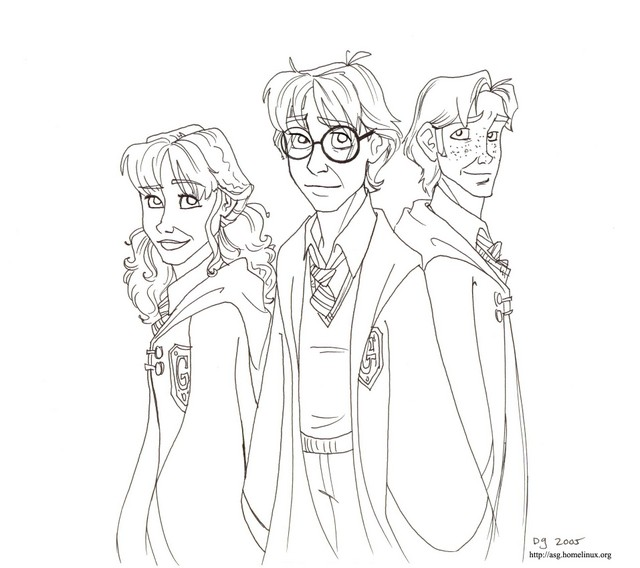 Hermione, Harry and Ron. 6th Year