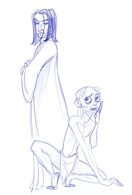 This was a commissioned piece involving Snape and Gollum involved in the classic riddle game...