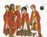 A beautiful colored version of my drawing of the Gryffindor Quidditch Team (coloring courtesy of shmink)